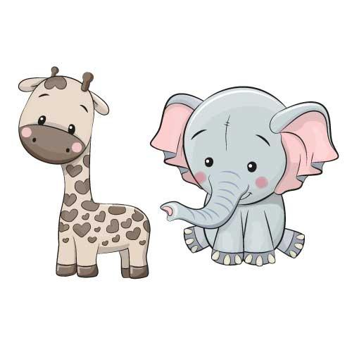 Wallstickers giraf dyr elefant børn